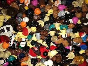 LEGO LOT OF 100 NEW RARE  MINIFIGURE HATS HAIR WIGS BROWN BLONDE BEARD