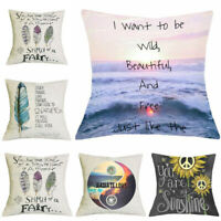 18'' Hippie Style Cushion Cover Cotton Linen Sofa Throw Chair Seat Pillow Case