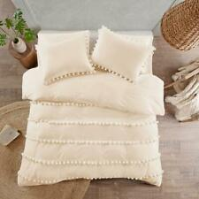 5 Pcs Set Organic Cotton White Duvet Cover Pom-Pom Comforter Cover Boho Bedding