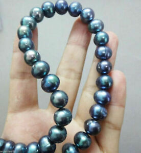 """22"""" inch GENUINE 9-10MM TAHITIAN BLACK PEARL NECKLACE"""