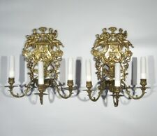 Pair of Antique French Bronze Sconces, Allegory of Time, Prudence and History
