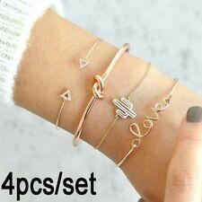 Cuff Bangle Cactus Bracelet Gold Plated 4Pcs Women Jewelry Set Chain Wristband