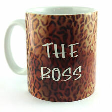 NEW THE BOSS WITH LEOPARD PRINT BACKGROUND SKIN CUP MUG GIFT PRESENT NOVELTY FUN