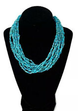 Designer Carolyn Pollack Multi 10 strand Turquoise Bead Sterling 925 Necklace