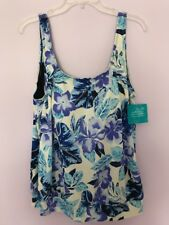 Swimsuitsforall Women's Plus Size 18 Blue White Side Tie Tankini Swimwear Nwt