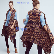 ANTHROPOLOGIE TRACY REESE Fabulous Canton Fringed Vest Poncho Wrap $178 NEW M/L