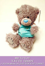 TATTY TEDDY Just For You CELEBRATION CUDDLY BEAR TOY Turquoise T-Shirt PLUSH
