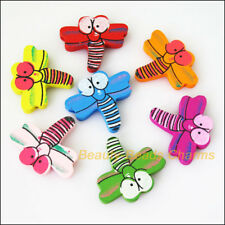 15 Charms Mixed Wooden Animal Dragonfly Craft Spacer Beads 30x33.5mm