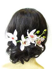 Long White Tropical Orchid Flower Hair Comb Fascinator Headpiece Hawaiian 1581