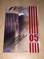 Formel 1 RaceCard Programm 2005 Silverstone SIGNED Webber,Räikkönen,Schumacher