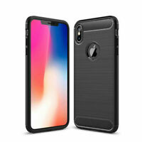 For iPhone XS Max X XR 7 8 Shockproof Phone Case Cover Carbon Fibre Brushed UK