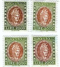 1982.92  QUATTRO MARCHE DA BOLLO LIRE 2000 MH SENZA GOMMA 4 REVENUE ITA 2000 MH