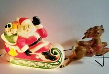 """1970 Empire Blow Mold Santa in Sleigh Pulled by Reindeer 22"""" L & 10"""" T"""
