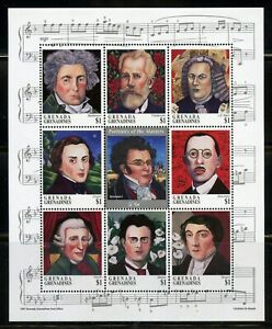 GRENADA GRENADINES COMPOSERS BEETHOVEN CHOPIN BACH  SHEET MINT NEVER HINGED
