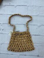 NWT Vintage Beaded Handbag Wood Zip Closure 7x9 Unusual Bag Brown