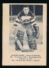 1951-52 Laval Dairy (QSHL) #92 JACQUES PLANTE (Montreal) -NHL *HOF*