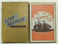 Vintage Lord Baltimore Rexall Playing Cards Linen Finish Sailing Ship Deck Box