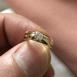 Genuine 9CT Yellow Gold Babies Ring Babies' Single Stone CZ Ring A-M Sizes