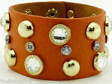 Last One! Orange Leather Bracelet with Gold Rivet Studs & Crystal Bling
