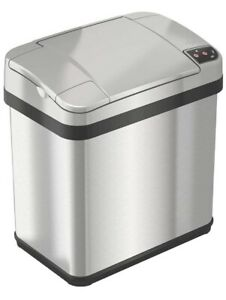 Itouchless 2.5 Gal Touchless Trashcan, Stainless