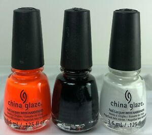 3 China Glaze Mini Nail Polish ORANGE KNOCKOUT & LIQUID LEATHER & WHITE ON WHIT