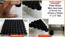 """9X Tiny Small TRAVEL Storage Clear Glass Bottle Mini Jar 1X3"""" Vials 27x72 BLACK"""