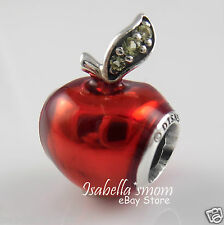 Disney SNOW WHITE'S APPLE Authentic PANDORA Silver RED ENAMEL Charm/Bead NEW