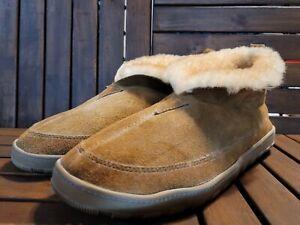 Eddie Bauer Men 13 Shearling Suede Boot Slipper Indoor Outdoor Sole Brown