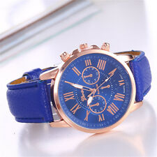 Unique Women Geneva Roman Watch Lady Leather Band Analog Quartz Wrist Watches