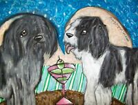 SCHAPENDOES Drinking a Martini Dutch Sheepdog Vintage Art 8 x 10 Signed Print