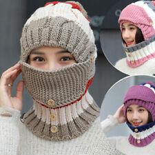 Fashion Women Knitted Wool Scarf Hat Pompom Cap Set Warm Winter + Scarf + Mask