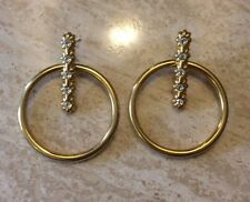 MONET GOLD HOOP EARRINGS WITH CLEAR CRYSTALS