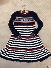Hanna Andersson Storyteller Navy Red Fair Isle Twirl Sweater Dress EU 150/US 12!