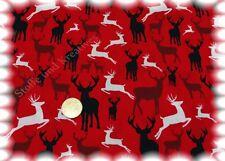 De Noël cerfs de Noël tissu rouge coton 50 CM de Noël substances coudre