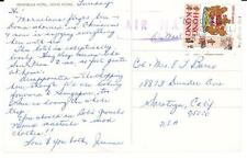 """Hong Kong CHINA SG#254-postcard view """"Peninsula Hotel-AIR MAIL to USA"""