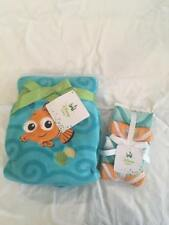 New! Disney Baby Finding Nemo Blanket and 5-Pack Washcloths Layette Set