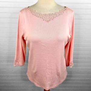 Lauren Ralph Lauren Long Sleeve Lace V Neck Knit Shirt Top Pink Ribbed SZ 2X