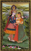 Radha Krishna Ethnic Painting Handmade Indian Hindu Folk Religion Miniature Art
