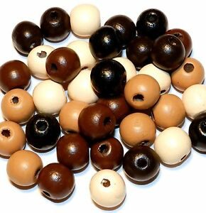 W148 Multi-Color Earthtone Brown Assortment 14mm Semi- Round Wood Beads 35pc