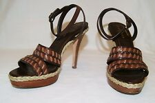 COLE HAAN NIKE AIR Brown Leather Strappy High Heel Sandals Shoes Size 7 1/2 B