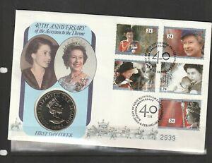 GB Coin Cover 1992 40th Wedding Anniv QE2 with £2 Alderney coin, Buckingham pala