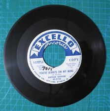 Arthur Gunter Baby Can't b/w You're Always Excello Printed Promo Label 45 RPM