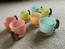 VTG Siesta Ware 7 piece set Pastel Coffee Mugs Tiki Wood Handles milk glass CUPS
