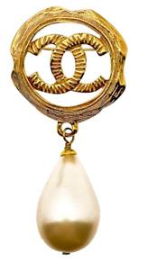 Vintage Chanel Pearl Logo Brooch 1994 - 100% Original