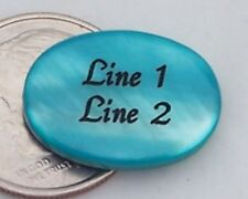 3 - PERSONALIZED Turquoise Mother of pearl Shell Beads - Custom Engraved - 18mm