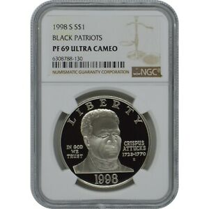 1998 S Black Patriots Commemorative Proof Silver one Dollar Coin NGC PF69 UC