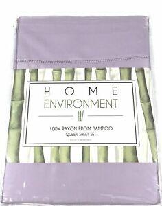 """NIP Home Environment 100% Silky Soft Bamboo Queen Plum Purple Sheet Set 18"""" Deep"""