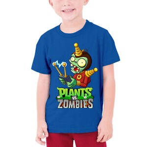 Game Plants vs. Zombies Kids Boys Cotton T-Shirt Younth Short Sleeve Daily Tee