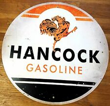 """HANCOCK GASOLINE ROOSTER STRUTTING 28"""" ROUND GAS STATION HEAVY METAL ADV SIGN"""