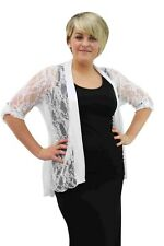 Plus Size Ladies Floral Lace Open Waterfall Cardigan 3/4 Button Gem Sleeve